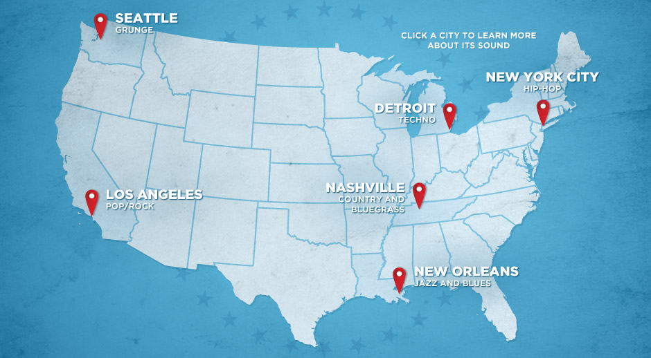 Road Map To Music In The USA Get The Gear For Your Citys Sound - New orleans on a us map